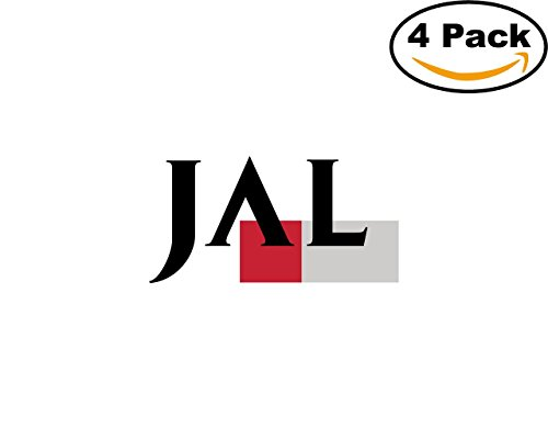 Japan Airlines 4 Stickers 4X4 inches Car Bumper Window Sticker Decal