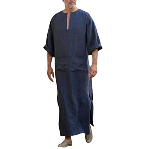 fanoud Mens Dress Kaftan Ethnic Robes Loose Solid Long Sleeve Loose Vintage Dress Kaftan