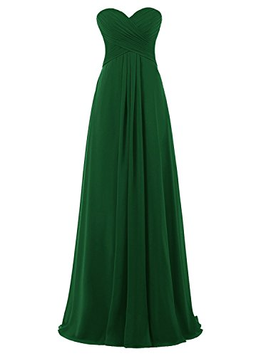 Luck Guide Women's Long Strapless Empire Waist Bridesmaid Dresses Maxi Evening Gowns Dark Green (Strapless A-line Bridesmaid Gown)