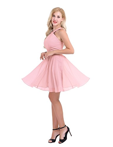 Party Chiffon Pearl Bridesmaid Cross Dress Gown Criss Prom Evening Pink CHICTRY Women's Short wqBCXX