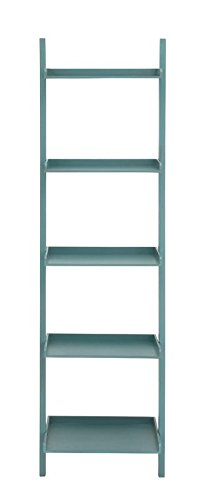 Ladder Bookcase In Gorgeous Blue Color Made of MDF and Pine Wood With 5 Shelves Space For You To Organize by eCom Fortune