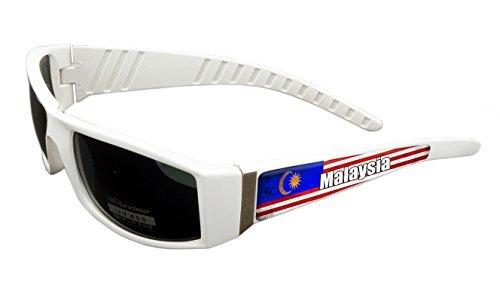 Malaysia Design White Frame/Black Lens 60mm Sunglasses Item # - Malaysia Lens