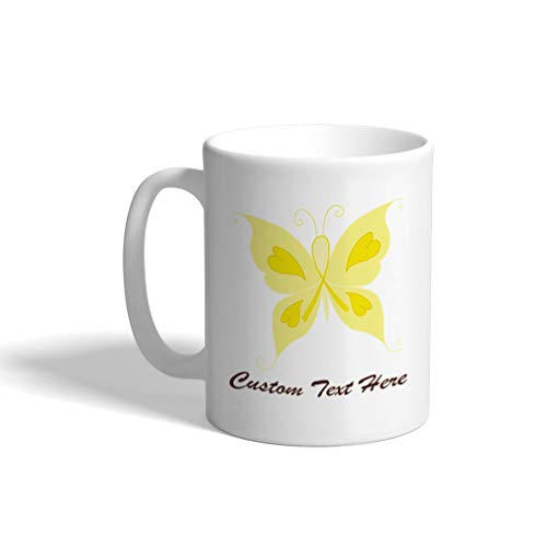 Custom Funny Coffee Mug Coffee Cup Cancer Butterfly Yellow White Ceramic Tea Cup 11 OZ Personalized Text Here
