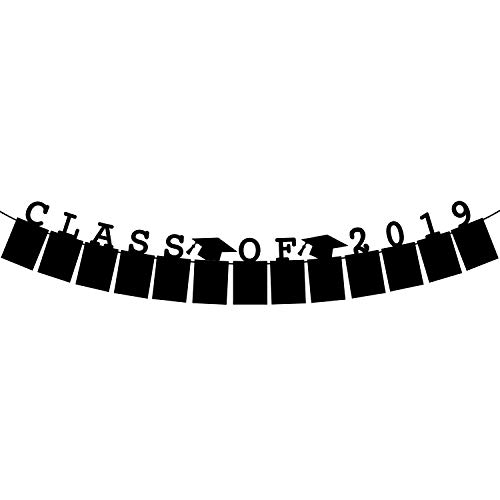 Picture Banner for Graduation, Class of 2019 Decorations - Graduation Photo Banner - Graduation Party Supplies 2019 | Graduation Banner Hat Garland Photo Props Backdrop and Graduation Favors| No DIY