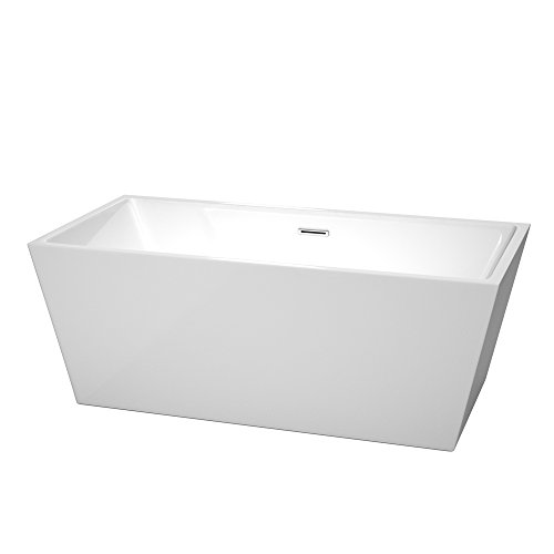 Wyndham Collection Sara 63 inch Freestanding Bathtub for Bathroom in White with Polished Chrome  ...
