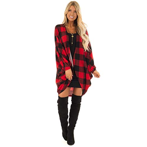 Plaid Cotton Loose Front Open Cardigan