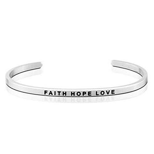 Jude Jewelers Stackable Stainless Steel Inspiration Mantra Cuff Bangle Bracelet Graduation Gift (Faith Hope Love)