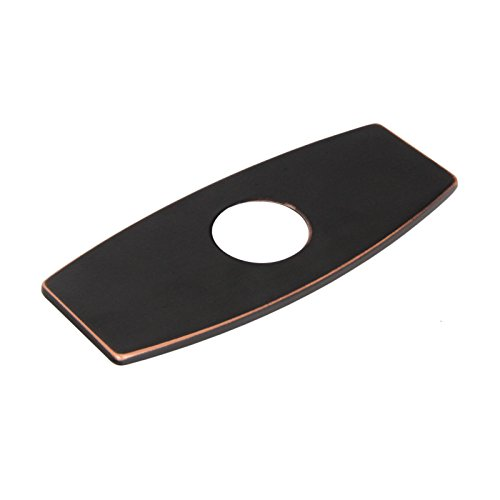 Wovier Oil Rubbed Bronze 3-to-1 Rectangle Shaped Polished,Suitable For 4 Inch Sink(total length 6.25 inch), Hole Cover Deck Faucet Plate Escutcheon,Black (Sink Cover Plate)