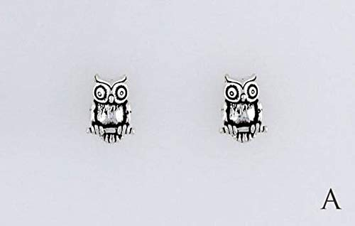Sterling Silver Owl Charm, Post, Dangle Earrings or Necklace
