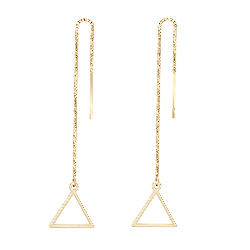 TUSHUO Simple Geometric Earrings Dangle Hollow Heart Round Square Triangle Chain Threader Earrings (Gold Triangle)