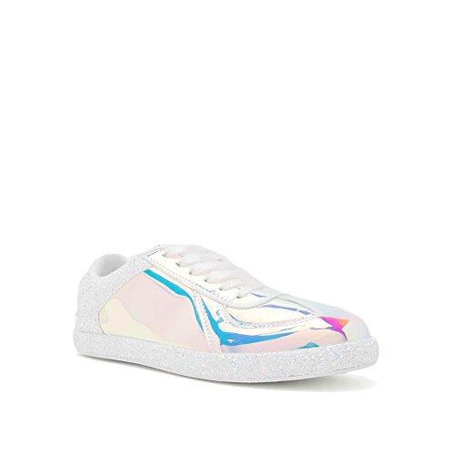 Quinte Femmes Hologramme Lace Up Glitter Mode Sneakers Mouvement-01 Blanc