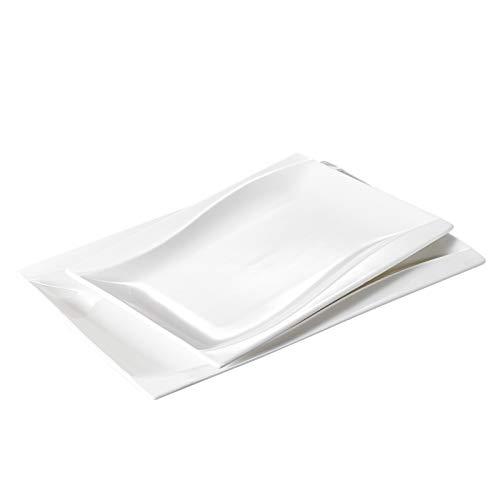 Malacasa, Series Carina, 2-Piece Ivory White Porcelain Serving Platters, 11