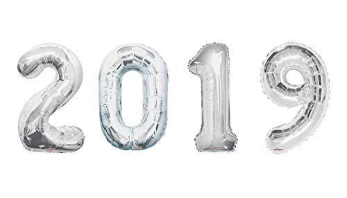 """2019 New Year/Graduation /Anniversary Party Decorations Mega Balloons - Silver 34"""" Silver 2019 Foil Number Balloon Kit (Contains 4 Balloons)"""