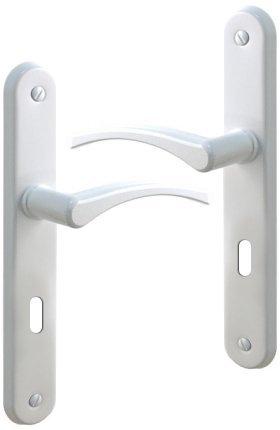 PoigneePorte Eva Intrieure En Aluminium Laqu Blanc Avec Plaque