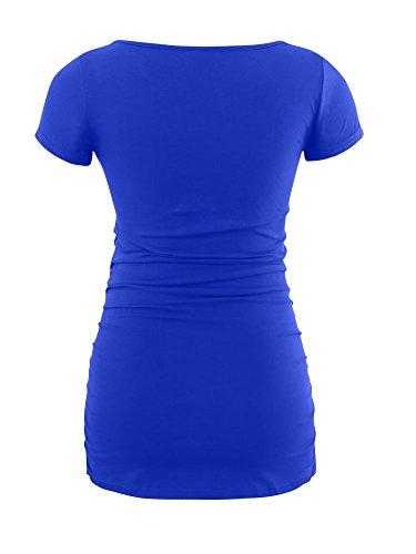 14fe7b8d Liu & Qu Womens Maternity Classic Side Ruched T-Shirt Tops Mama Pregnancy  Clothes Blue