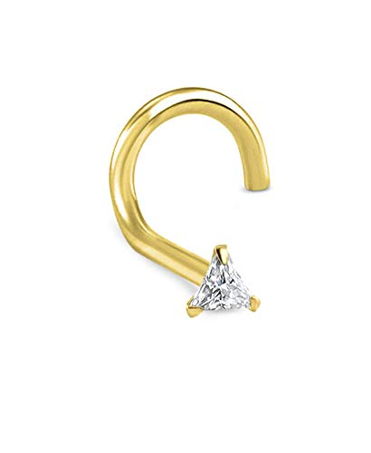 14k Solid Yellow Gold Left Nose Screw Ring Triangle CZ 20G ()