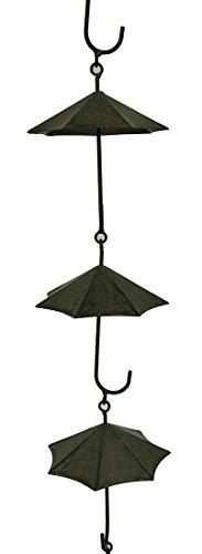 Zeckos Metal Rain Chains Copper Finish Metal Umbrellas Rain Chain W/Attached Hanger 48 Inch 4.5 X 61 X 4.5 Inches Brown by Zeckos (Image #1)