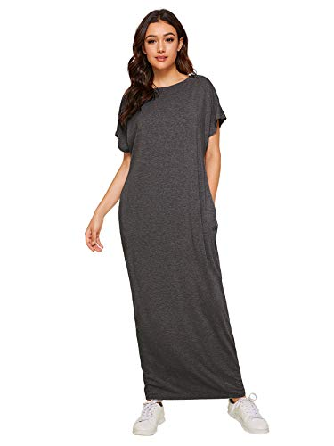 Verdusa Women's Short Sleeve Casual Loose Long Maxi Dress with Pockets #2 Dark Grey M (Sleeve Kaftan)