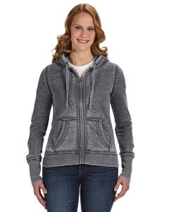 J America Ladies' Zen Full-Zip Fleece Hood M DARK SMOKE (Distressed Vintage Sweatshirt)