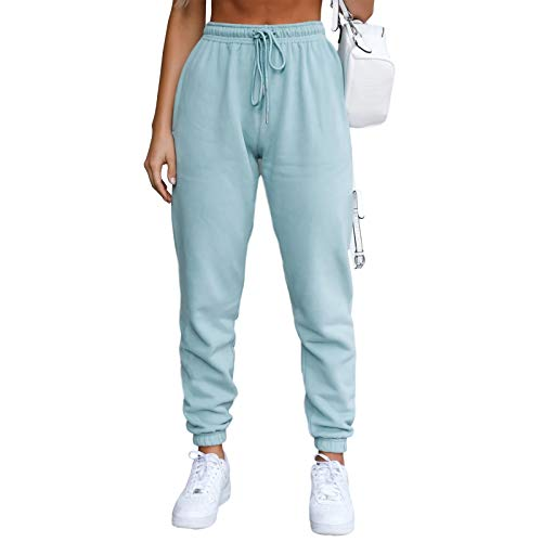 Ferrtye Womens High Waisted Joggers Sweatpants Drawstring Tapered Lounge Track Cuff Pants with Pockets (Lake Blue,Medium)