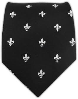 100% Woven Silk Black Fleur de Lis Tie