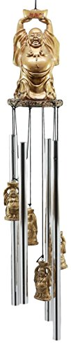 Ebros Feng Shui Lucky Buddha With Golden Nugget Wind Chime 23