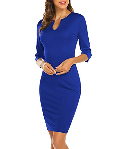 Naggoo Women's Business Wear to Work 3/4 Sleeve V Neck Bodycon Pencil Dress 05 Royal Blue# M ()