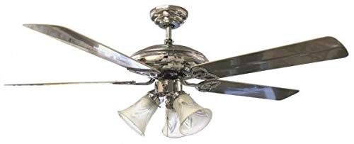 "OVERSEAS USE ONLY Sakura SA5203AB 52"" Five Blade 220 Volt Ceiling Fan with Four Lights - POLISHED BRASS Style (220V will not work in USA)"