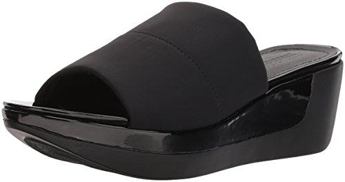 Kenneth Cole REACTION Women's Pepea Slide Platform Single Band Wedge Sandal, Black, 10 M (Black Wedge Slide)