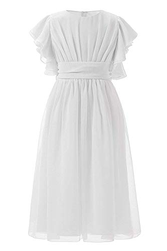 Abaowedding Fancy Chiffon Flower Girl Dresses Flutter Sleeves First Communion Dress(Size 6,Knee Length in White) -