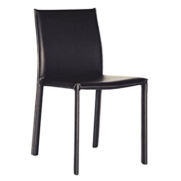 Baxton Studio Edda Leather Dining Chair, Black, Set of 2