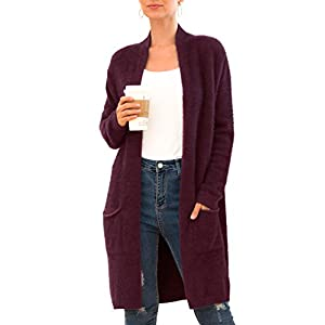 QIXING Women's Casual Open Front Knit Cardigans Long Sleeve Plush Sweater Coat with Pockets