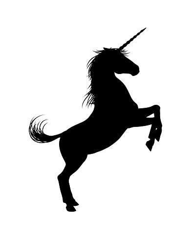 Unicorn Wall Decal Sticker. Black Color, Large 45in Tall X 33in Wide. Fantasy Silhouette Design for Girl's Bedroom Decor. #6108m-45x33- Facing Right