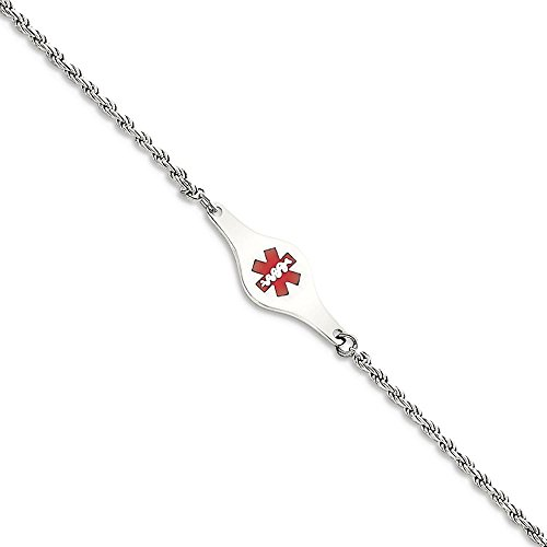ICE CARATS 925 Sterling Silver Medical Id Rope Link Bracelet 7 Inch Fine Jewelry Gift Set For Women Heart