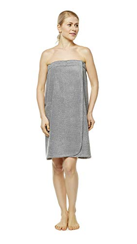 Terry Wrap Skirt - Arus Women's GOTS Certified Organic Turkish Cotton Adjustable Closure Bath Wrap P/S Gray