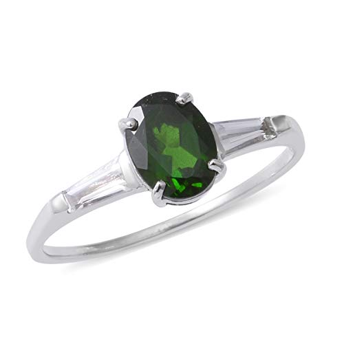 (925 Sterling Silver Platinum Plated Chrome Diopside White Topaz Ring Size 8 Cttw 1.3)