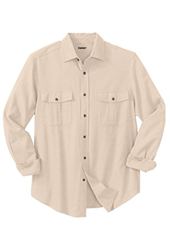 Tall Solid Double-Brushed Flannel Shirt, Stone Big-2Xl ()