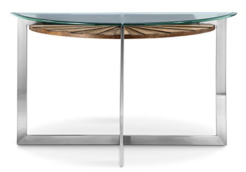 Magnussen T3805-75 T3805 Rialto Contemporary Brushed Nickel Demilune Sofa Table - Console Glass Demilune Table