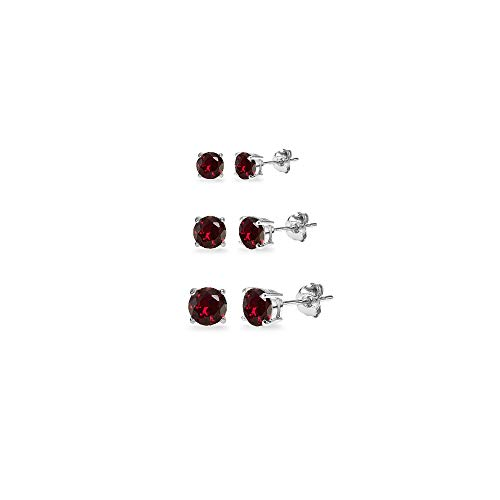 3-Pair Set Sterling Silver Created Ruby Round Stud Earrings, 3mm 4mm 5mm (Silver 3 Stone Bracelet Sterling)