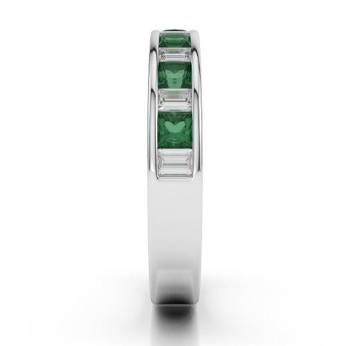 G-H/VS 0,59CT Coupe ronde Certifié Émeraude et diamants en platine 950Agdr-1143