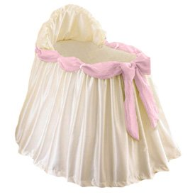 BabyDoll Swag Bassinet Liner/Skirt and Hood, Pink Sash, 16''x32''