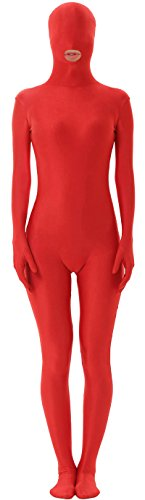 Marvoll Unisex Mouth Hole Spandex Fullbody Costume for Kids and Adults (Kids Medium, Red) (Superman Leotard)