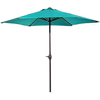 Great Abba Patio 9 Feet Patio Umbrella With Push Button Tilt And Crank, Turquoise