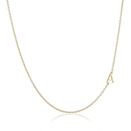Deidreamers Side Mini Initial 14k Gold on Silver A (Necklaces With A Initial)