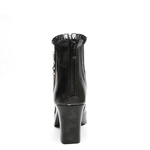 Tac¨®n L Black Cuero Zapatos Sandalias Casual Chunky Alto Tacones Respirables yc Pescado Mujer Negro De wSr1wI