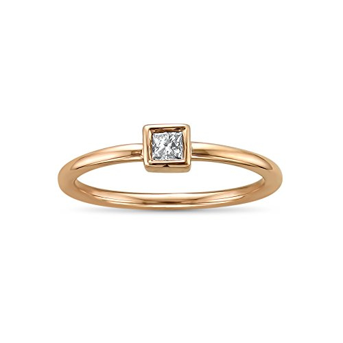 14k Rose Gold Princess-cut Sol