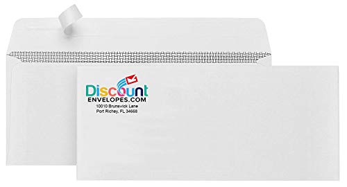 #10 Envelopes Custom Printed Full Color - White Self Seal Envelopes with Confidential Security Tint (Box of 500)