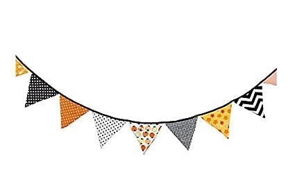 banderines Triangulares Fiesta Outflower banderines Florales de Doble Cara de Tela para Boda
