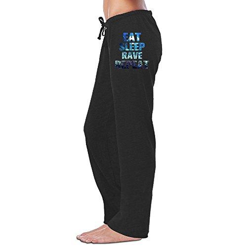 BMW47' Women's Eat Sleep Rave Repeat Long Running Pants - Black L