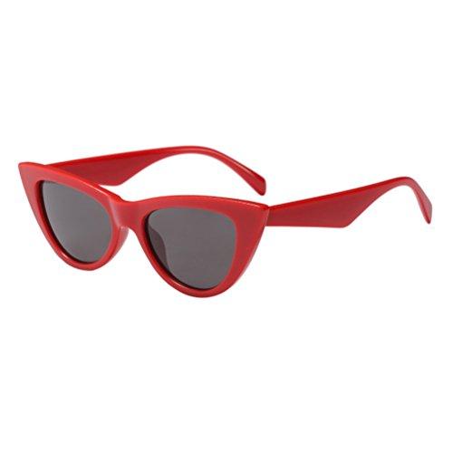 de de Retro Red UV Sol Gafas Zhhlinyuan Mujeres Ojos Protección Estuche Gato con de Clásico Gafas FpZvqZWO